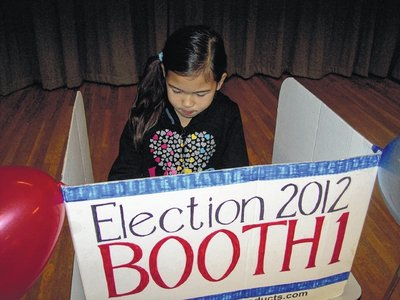 Girl in Voting Booth