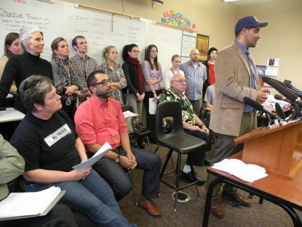 Seattle teachers hold press conference declaring their refusal to implement a standardized test.