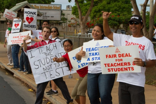 Hawaii teachers during a work-to-rule action.