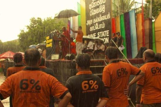 Sri Lankan teachers on strike demanding an increase of GDP spending on education to 6%.