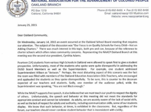 An excerpt from the NAACP's paternalistic email that GO Public Schools is promoting.