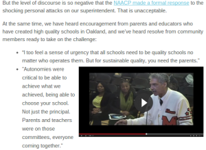 A snippet from the GO Public Schools email where you can see their one-sided selection of quotations from the board meeting to back up their pro-neoliberal/privatization political agenda.