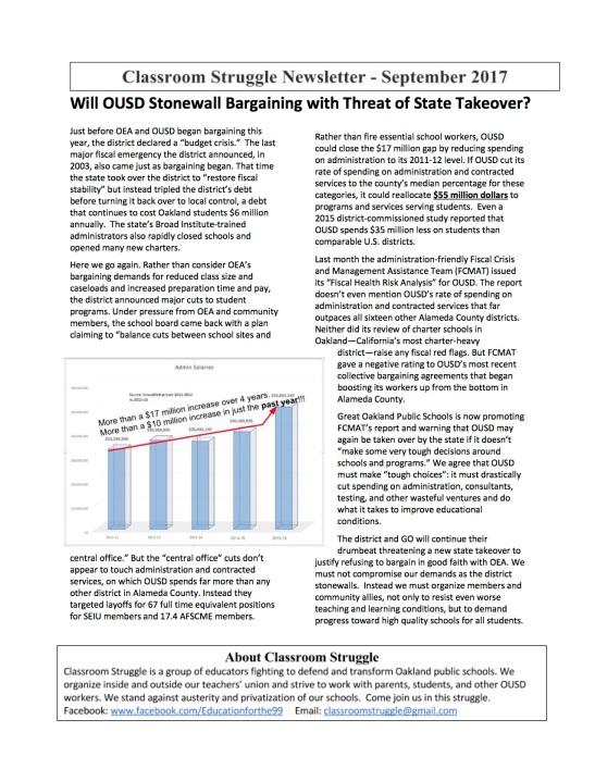 OUSD Budget Crisis_CS Newsletter-Sept 2017